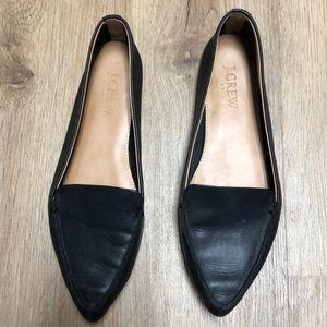 J Crew black leather flats EUC Size 6.5